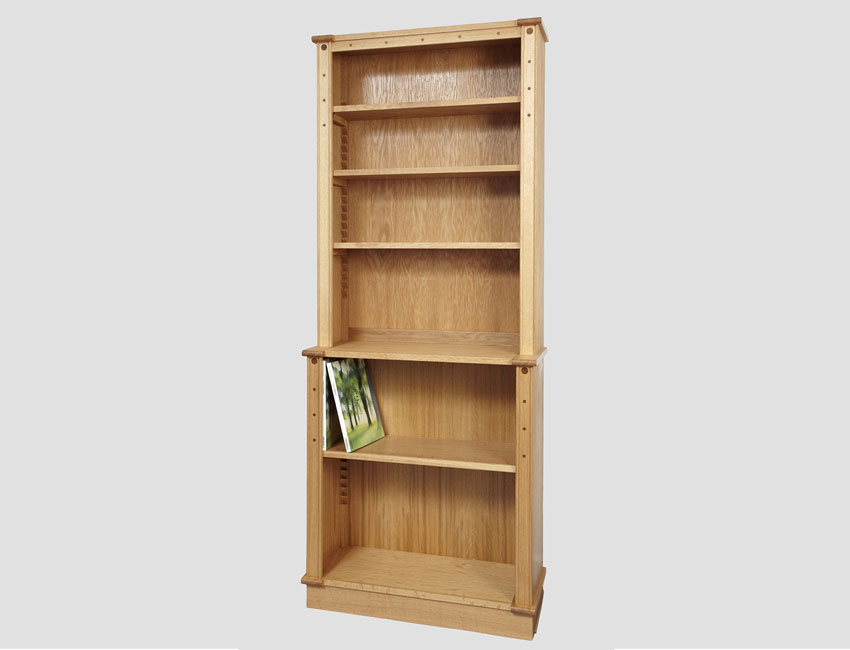 English oak bookcase smaller dimensions