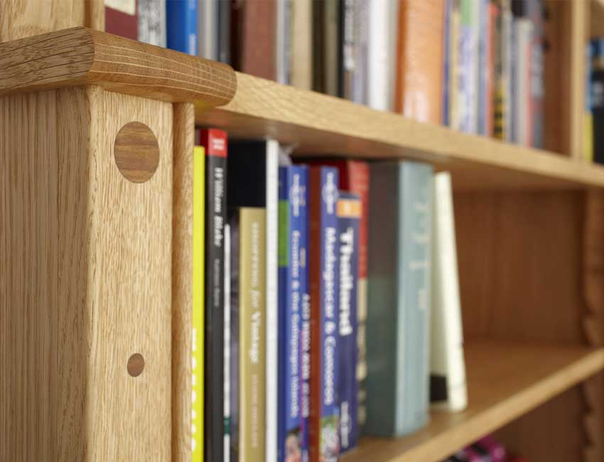 Large English Oak bookcase detail